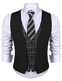 COOFANDY Men's V-Neck Slim Fit Dress Waistcoat Plaid Layered Suit Vest