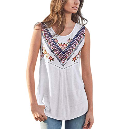 LONGDAY Women Summer Casual Tank Top Sleeveless T-Shirt Vest Crew Neck Bohemian Vintage Shirt Hollow Out Loose Tunic White]()