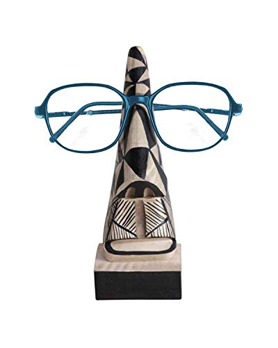 storeindya Wooden Spectacle Holder Stand Eyeglass Holder Hand Carved Display Stand Glasses Stands-Unique Office Desk Handmade Home Décor Decorative & Creative Gifts (Abstract Aztec Nose ()