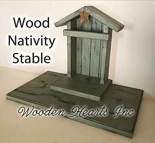 STABLE for NATIVITY Creche (figures not included) Distressed Wood Rustic *Wooden Stables Manger Angel Sage Green Burgundy Red Antique White *No Assembly *Made in USA **SALE**
