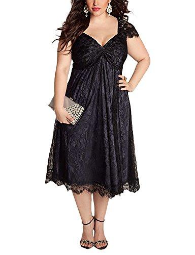 WANTU Womens Gothic V-neck Empire Waist Lace Party Midi Dress (US 14-16, black)