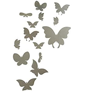 Soledi cute plastic butterfly silver mirror wall stickers - Cristales decorativos para paredes ...