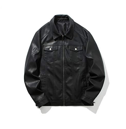 Mens Casual Moto Bomber Biker Racer Jacket Faux Leather Jackets & Coat(Black Large)