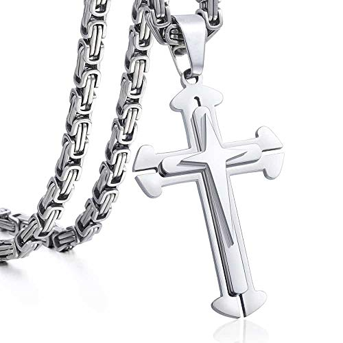 Trendsmax Cross Pendant Necklace Mens Boys Stainless Steel Silver Byzantine Chain 28inch