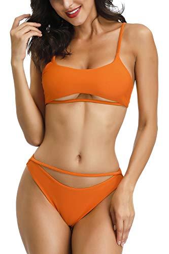 QINSEN Women Brazilian High Cut Bikini Bathing Suit Cutout Strappy High Waist Thong 2PCS Bikini Sets Swimsuit Red L - Orange Bikini Set