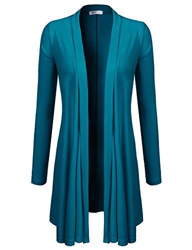 H2H Women's Fashion Open Draped Short Length Cardigan of Teal M