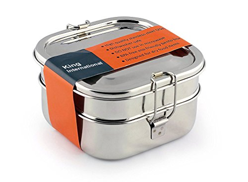 (King International Stainless Steel square Shape Double decker Lunch box, tiffin box   Traditional Indian Lunch box   Indian Tiffin   Food storage Container, Eco-Friendly, Dishwasher Safe and BPA-Free)