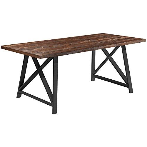 2xhome Dark Wood - Modern Wood Table Grey Steel Metal Legs Frame Dining Table 71