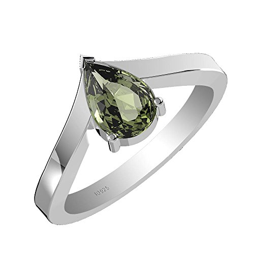 1.45ctw,100% Natural Moldavite 6x9mm Pear & Solid .925 Sterling Silver Ring (Size-9.5)