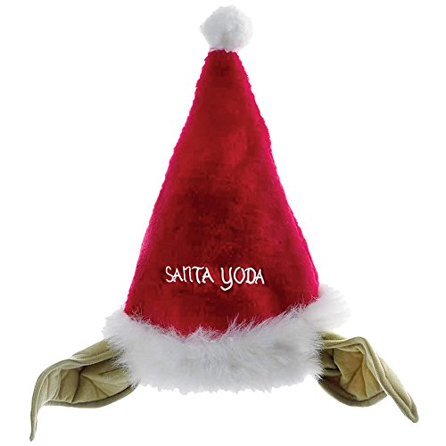 Star Wars Yoda Faux-Fur Santa Claus Hat w/Yoda Ears - Comical Christmas Fun]()
