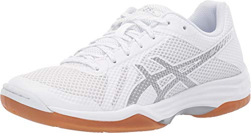 (ASICS Gel-Tactic 2 Womens Volleyball Shoes, White/Silver, Size 8.5)