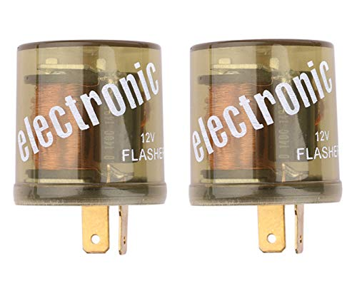 Heavy Duty Turn Signal - Electronic Flasher Relay, Sdootauto Heavy Duty Turn Signal Flasher Relay 2 Pin 12V LED Compatible for Motors Turn Signal & Hazard Warning- 2 Pack