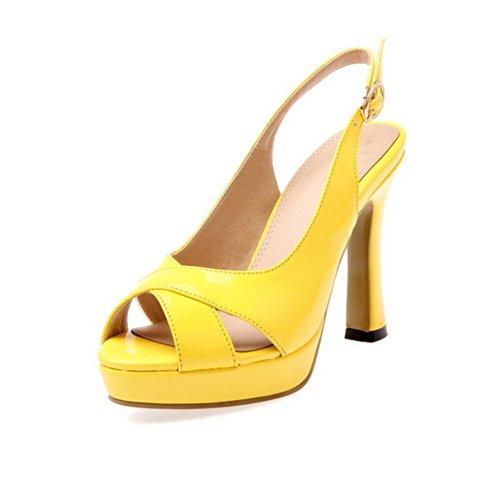 Vogue001 Womens Open Peep Toe High Heel Platform PU Patent
