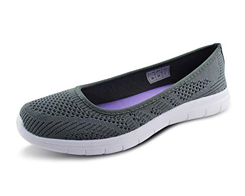 Jabasic Women Slip On Loafers Breathable Knit Flat Walking Shoes (dk ()