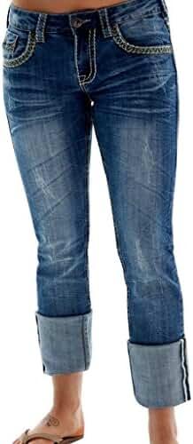 Cowgirl Tuff Western Denim Jeans Womens Trailblazer Denim Med JTRAIL
