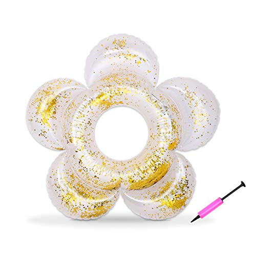 Yun's Adult Swim Ring, Flower Shaped Inflatable Pool Inner Tube Swim Tube with Gold Confetti for Swimming, Summer Pool Party, Pump for Free -