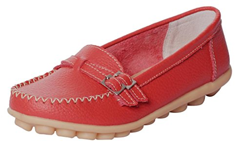 Serene UJoowalk Women's Comfortable Leather Soft Slip-On Flat Casual Driving Loafer Shoes (7 B(M) US, Red)