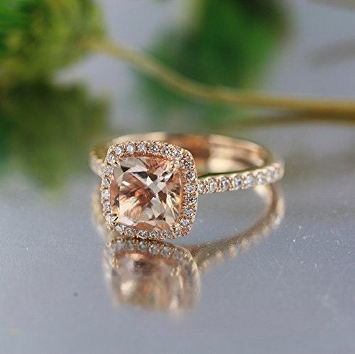 Amazon Com 8 Mm Square Morganite In 14k Rose Gold Diamond Halo