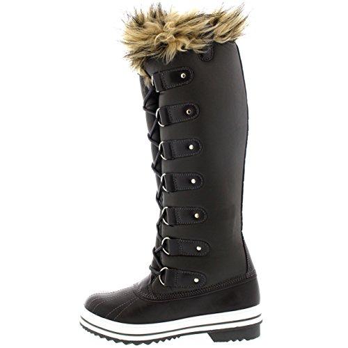 Frauen schnüren sich Gummisohle Kniehohe Winter Schnee Regen Schuh Stiefel Graues Leder