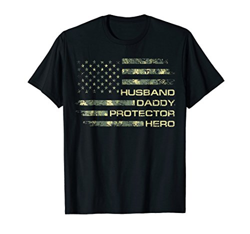 Mens Husband Daddy Protector Hero Shirt Fathers Day Flag Gift Tee ()