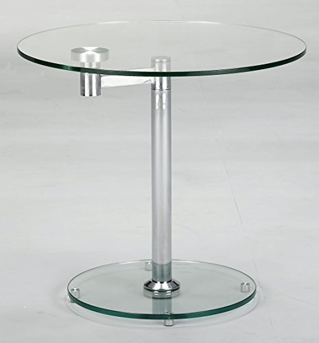 MILAN LT Linnea Round Lamp Table, Glass/Chrome