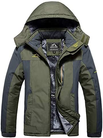MAGCOMSEN Men's Winter Coats Waterproof Ski Jacket Fleece Lined Windproof Warm Snow Jacket with Hood 4 Pockets