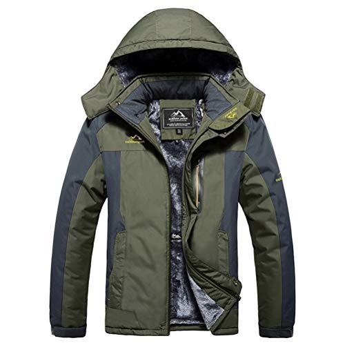 MAGCOMSEN Men's Winter Coat Ski Rain Jacket Waterproof Fleece Lined Windproof Warm Snow Jacket With Hood 4 Pockets
