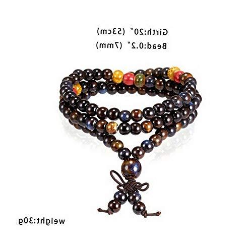 Florance jones 7MM Prayer Beads Bracelet Ceramic Buddhist Unisex Bracelet Multi-Layer Bangle | Model BRCLT - 44504 |