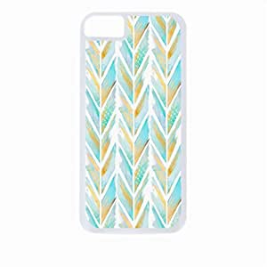 Blue and Gold Feathered Chevron Pattern- Case for the Apple Iphone 4-4s Universal-Hard White Plastic Outer Shell with Inner Soft Black Rubber Lining