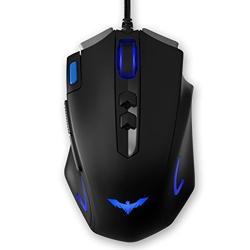 HAVIT HV-MS732 4000 DPI LED Optical Programmable Gaming Mouse for PC (Black+Blue)