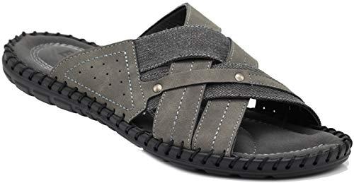 Sandals Gray Mens - Enzo Romeo JM3 Men Summer Casual Slipper Slide Sandals Slides Clogs Shoes (9.5 D(M) US, Gray 03)