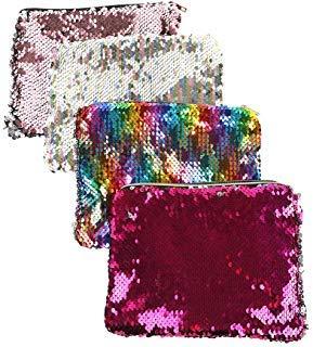 click-me 4Pcs Sequin Makeup Bag Reversible Magic Bling Glitter Pencil Pouch Cosmetic Bag Purse Fashion Shiny Women Handbag