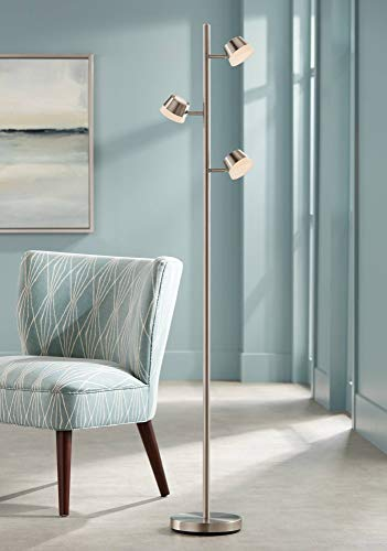 Lamp Acrylic Floor Shade (Merlin Lighting Modern Floor Lamp 3 Light LED Tree Satin Nickel Adjustable Acrylic Shade Pole Dimmer for Living Room Reading Bedroom Office - 360 Lighting)
