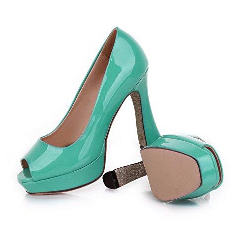 Toe High Plattform Pumps Peep Lackleder Grün UK Chunky Heels VogueZone009 Offene 3 Womens Heel Voll PU IWqc7ntRS
