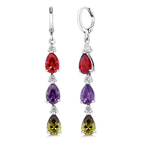 Gem Stone King 2inches Red, Green & Purple Pear Shape CZ Zirconia Rhodium Plated Dangle Earrings
