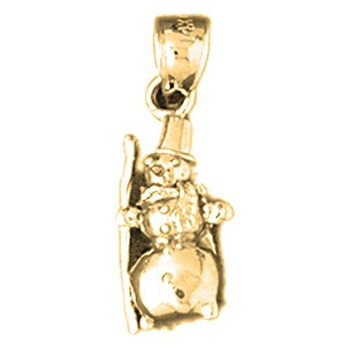 Jewels Obsession 3D Snowman Charm Pendant | 14K Yellow Gold 3D Snowman Pendant - 22 mm