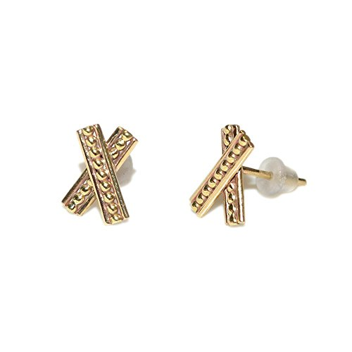 Gold Criss Cross Bar Stud Earrings / Earring Posts, Post Earrings, Earlobe Jewelry - Blue Topaz Cross Earrings