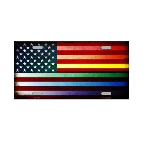 Rainbow Fade American Flag Novelty Vanity License Plate Tag Sign smartblonde