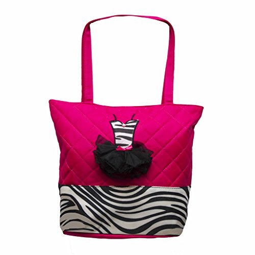 Girls Quilted Nylon Tote Bag w/ Zebra Trim & 3D Ballet Tutu Dress (Pink) -