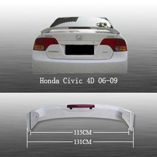 Alerón Ala Oe estilo w/LED para Honda Civic Sedan 2006–2010