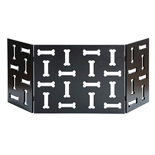 Etna 3-Panel Wood Pet Gate with Bone Cutout Design - Freestanding Tri Fold Dog Fence for Doorways, Stairs - Indoor/Outdoor Pet Barrier ()