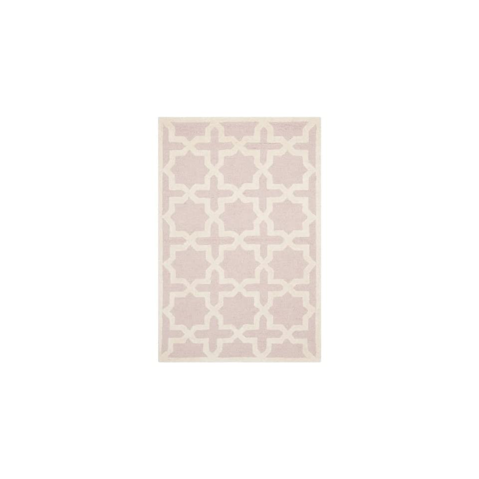 Safavieh Cambridge Collection CAM125M Handmade Moroccan Geometric Light Pink and Ivory Premium Wool Area Rug (3 x 5)