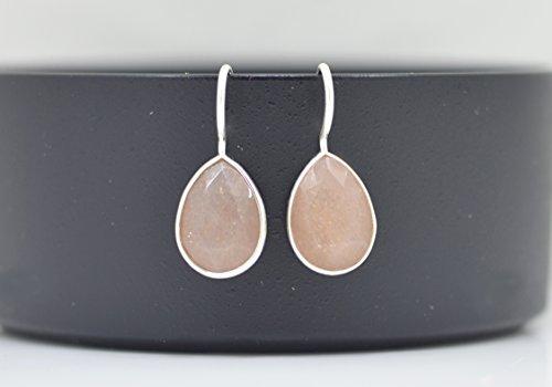 Peach Moonstone Ring (Teardrop Peach Moonstone Earrings Silver, Pear Shaped Peach Moonstone Earrings, Peach Gemstone Earrings, Bridesmaid Earrings Gemstone)