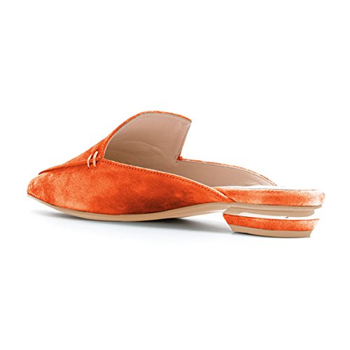 On Low Orange Shoes Size Women Pointy Mules Heels Fashion 4 Faux 15 Toe Casual FSJ Suede Sandals Slip US n4qvUx6qw7