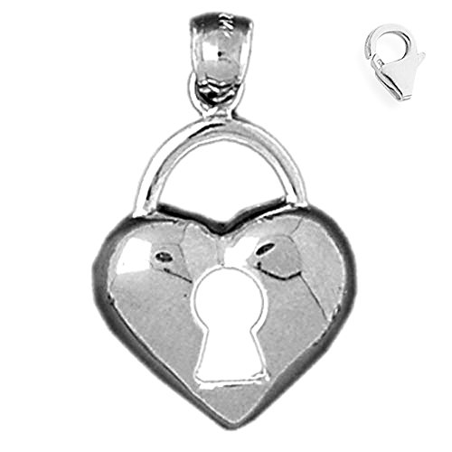 Jewels Obsession Heart Padlock | 14K White Gold Heart Padlock, Lock Charm Pendant - 26mm