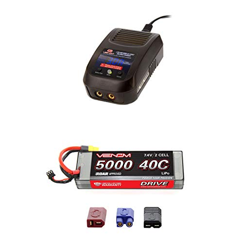 (Venom Sport Power 40C 2S 5000mAh 7.4V LiPo Battery Roar Approved with UNI Plug and Venom LiPo and NiMH AC Sport Balance Charger Combo)