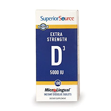 Superior Source, MicroLingual, vitamina D3 Sublingual - 5000 IU x100tabs: Amazon.es: Salud y cuidado personal