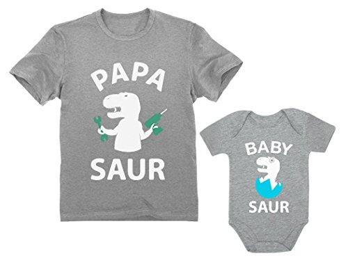 Papa Saur T-Rex Dad & Baby Saur Daddy and Me Matching Set Father & Son Daughter Papa Gray Medium/Baby Gray 12M (6-12M)]()