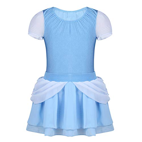 FEESHOW Girls Princess Puff Sleeve Ballet Dance Leotard with Skirt Fairy Tales Party Fancy Dress up Costume Sky Blue 3-4