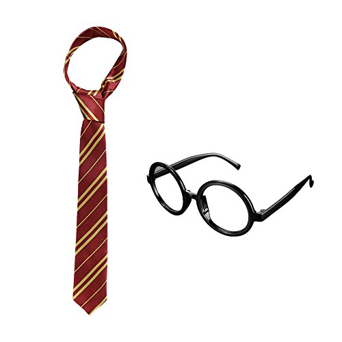 Harry Potter Tie - Gryffindor Necktie w/ Wizard Glasses for Kids Teens, Halloween Costume Party Supplies
